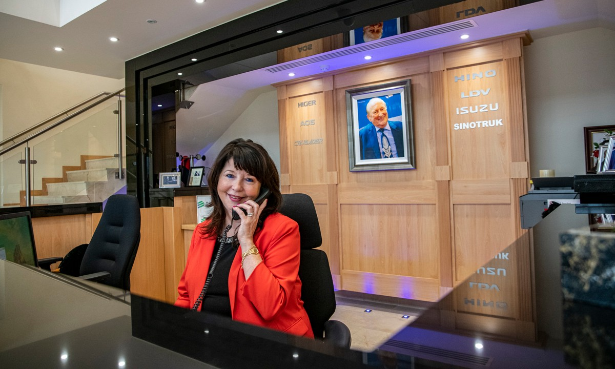 Friendly receptionist at Harris Group
